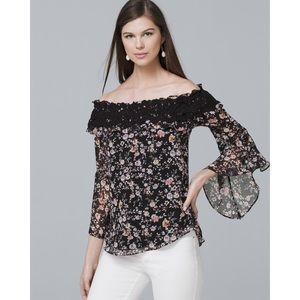 New WHBM Off the Shoulder Blouse floral chrochet